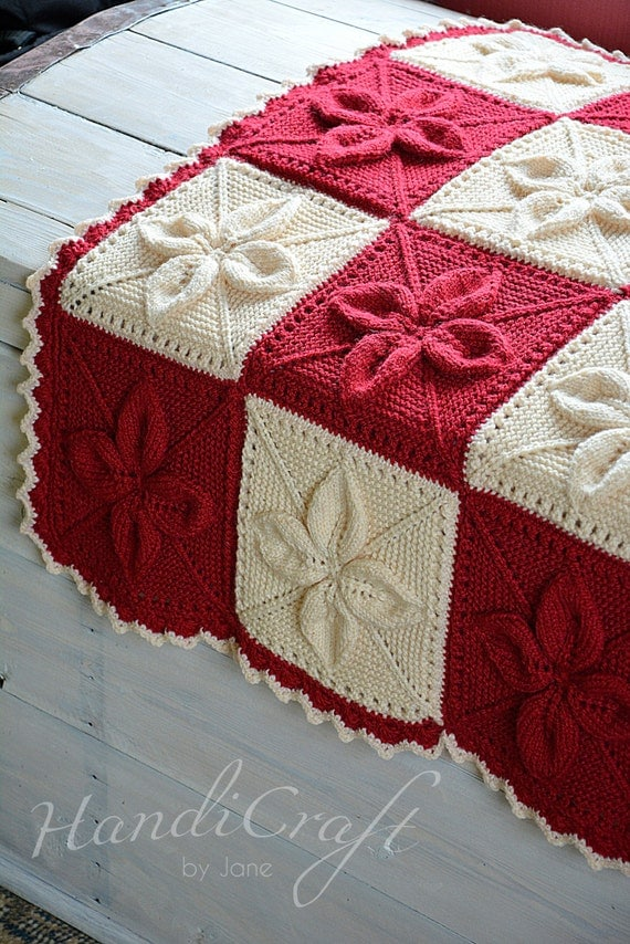 Knitting Pattern Leaf Baby Blanket : Knitted baby blanket. Red and beige handmade blanket for baby