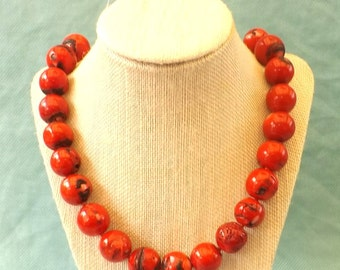 Big, Red Coral Bead Necklace