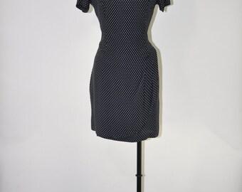90s minimalist dress / black rayon wrap dress / polka dot fitted dress