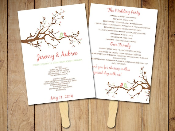 diy wedding program fan template love bird by