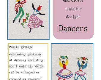 Vintage embroidery transfer motif, Dancers, instant download, transfer design
