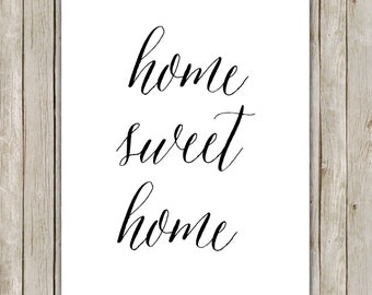 8x10 Home Sweet Home Printable, Kitchen Art, Decor, Typography Printable, Typography Print, Digital Art Poster, Home Decor, Digital Download