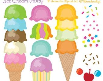 Ice Cream Cones Clip Art - Ice Cream Party - Kids Party Clipart