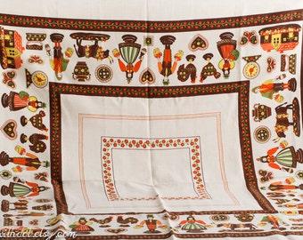 Vintage Tablecloth -- Pennsylvania Dutch  -- Square Linen Tablecloth