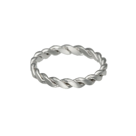 sterling silver braided ring thin ring by pieceofminejewelry