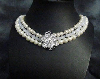 Tripple Pearl necklace ,bridal jewelry , bridesmaids jewelry  handmade , pearl and crystal necklace,