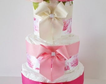 Baby Girl Diaper Cake, It's A Girl Baby Shower Centerpiece, Pink Flower Diaper Cake, Table Centerpiece, Sip and See Decor