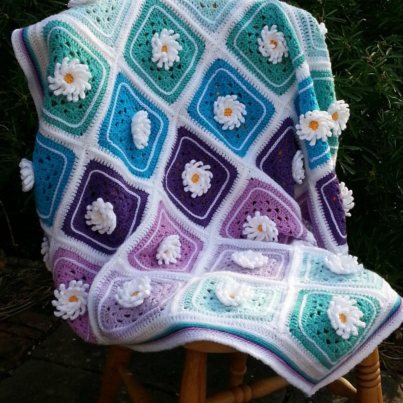 Crochet Daisy Baby Blanket Pattern : Lazy Daisy Afghan Blanket Throw Crochet Pattern Tutorial