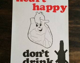 Keep Your Heart Happy / Don't Drink Art Print / Alcoholics Anonymous / Signal Press