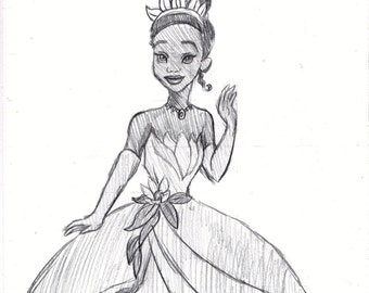 Disney's The Princess and the Frog Tiana Sketch Drawing
