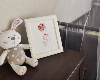 Pink BUNNY Nursery Art (Mixed Media Canvas)