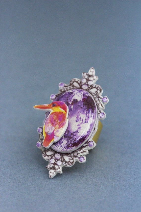chunky cocktail ring with bird, fairy jewelry