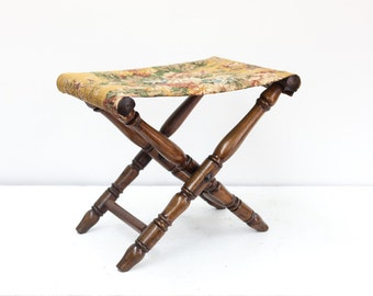 Folding Stool with Floral Fabric
