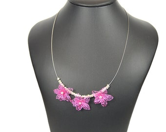 Bib necklace, filigree necklace, wire, lace jewellery, wire, pink filigree necklace, 45 cm long, gifts for women,.