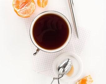 Tea & Tangerines Still Life, Food Photography, Photo Print, Large Wall Art, Kitchen Decor, Dining Room Decor, Home Decor, Restaurant Decor