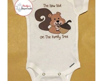 The New Nut on the Family Tree, Squirrel holding acorn, Boy Squirrel, Family Tree, Baby Shower Gift, Baby Onesie