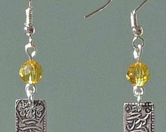 ANTIQUE SILVER ORIENTAL Charm & Fire Crystal Earrings