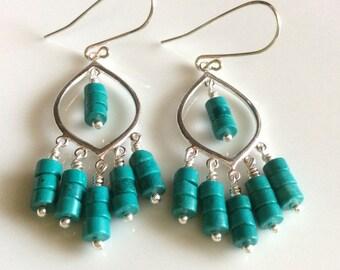 Turquoise Stone Earrings / Sterling Chandelier Earrings / Long Dangle Earrings / Boho Earrings / Sterling Silver Earrings