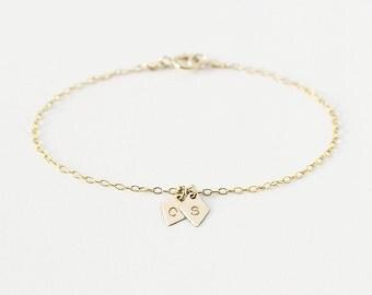 Zoe - Personalised initial bracelet - 14k gold diamond charms - custom letter bracelet - bridesmaids bracelet