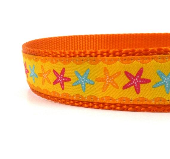 Summer star fish dog collar european ribbon adjustable dog for Fish dog collar