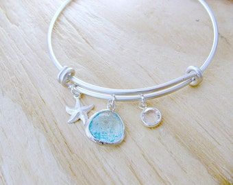 Silver Aquamarine Bangle Starfish Bangle Personalized Swarovki Birthstone bangle Aquamarine jewelry march birthstone Beach Wedding Aqua