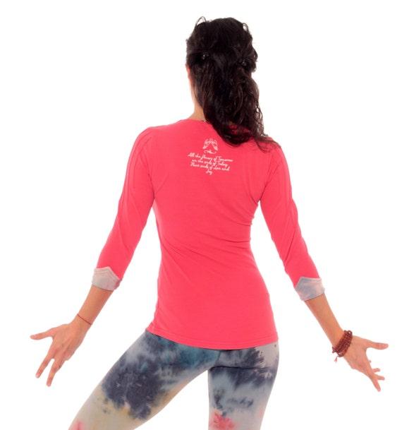 Long Sleeve Top ORGANIC Yoga Top Yoga Clothes Coral Yoga