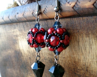 Red and Black Masquerade Earrings