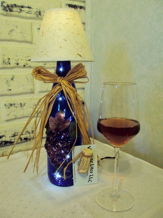 Deep cobalt blue wine bottle lamp with shade by for Wine cork lampshade