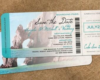 Wedding in Cabo Save the Date Boarding Pass  | Cabo Mexico  // Aqua El Arco Rock | Baja Destination Wedding