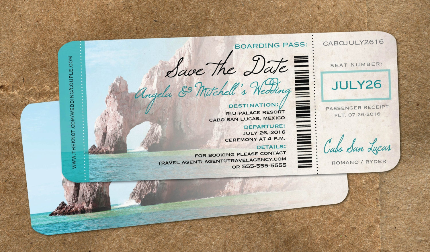 Wedding in Cabo Save the Date Boarding Pass Cabo Mexico