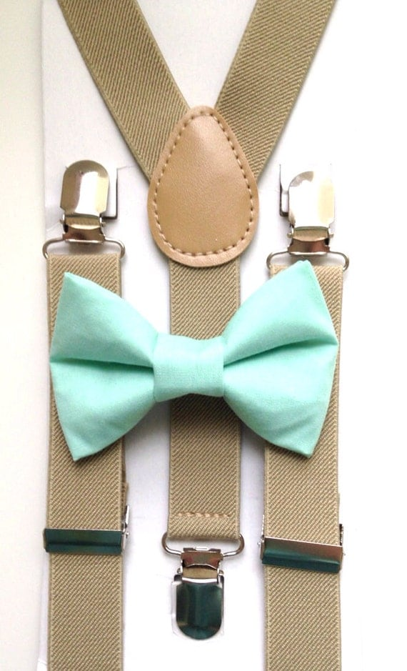 Tan Suspenders and Mint Bow Tie