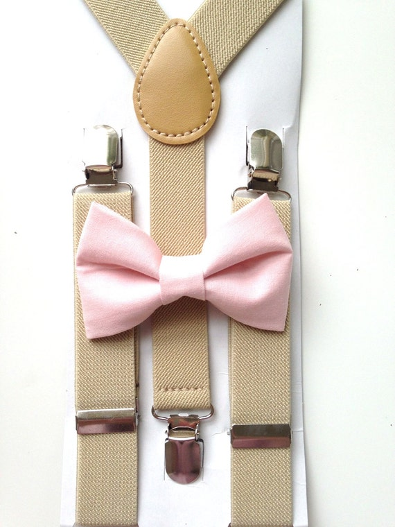 Tan Suspenders and Light Pink Bow TIe