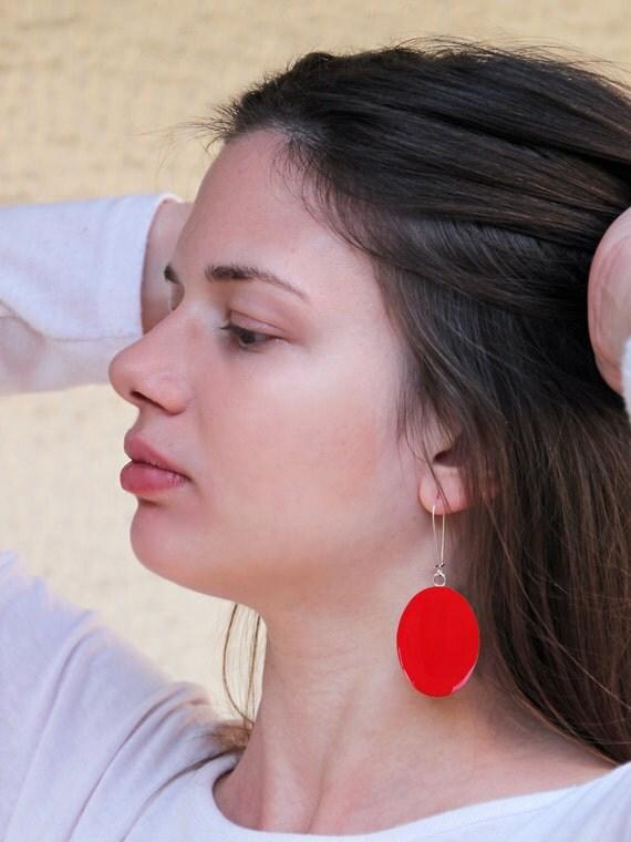 Ruby red earrings, red resin earrings, long earrings, modern minimalist, color block jewelry, big oval lightweight earrings, surgical steel