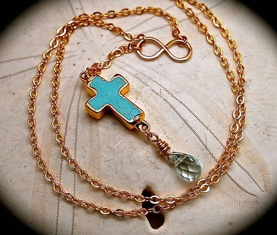 Turquoise Cross with Aquamarine Drop and Gold Infinity Necklace