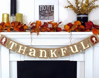 Thanksgiving Banners - Thankful Banner - Pilgrims - Fall Decor - Thanksgiving Decor - Fall Banner - Thanksgiving Sign - Hostess gift