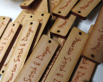 50 - .5 x 2 Custom Wood Tags - Custom Knitting Tags - Wood Gift Tags