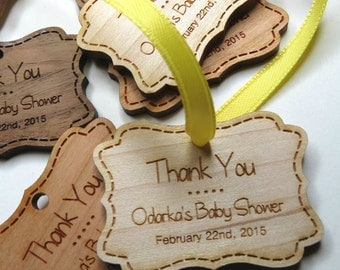 50 - 1.75 x 1.25 Baby Shower Tags - Custom Shower Tags - Wood Shower Tags