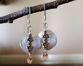 Combination Of Brass And Silver Finished With Tiny Swarovski Crystals