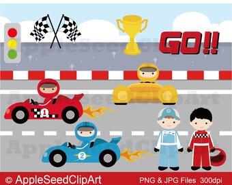 Race Car Digital Clip Art, Instant Download, Cute boys Digital Clip Art, Srcapbooking