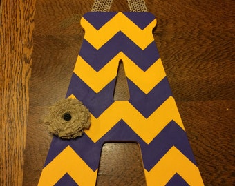Handpainted Letter A in Yellow & Purple