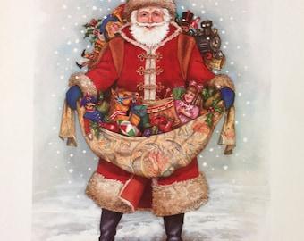 Vintage Santa Claus Christmas Print, Wall Hanging