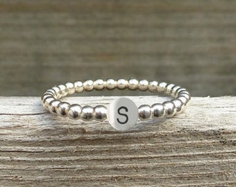Silver letter ring beadwire, stack ring letter, personalized ring, alphabet ring, stamp ring, monogram ring, little girls ring, initial ring