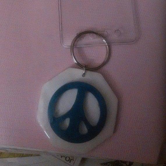 Key Holder/Card Holder - Blue Peace Sign