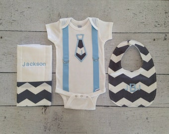 Personalized Baby Boy Bodysuit, Bib, and Burp Cloth Set, Create Your Own