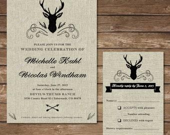 Printable Rustic Deer Wedding Invitation with RSVP Card - Digital File