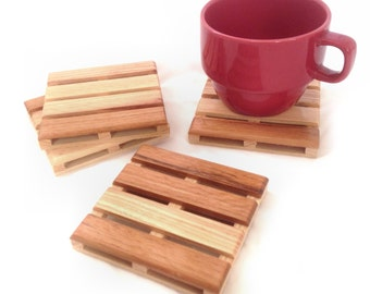 Beverage Pallet Drink Coaster - Coffee Coaster - 4 Coaster Set - Reclaimed hickory, multi reclaimed wood, mahogany wood or white oak