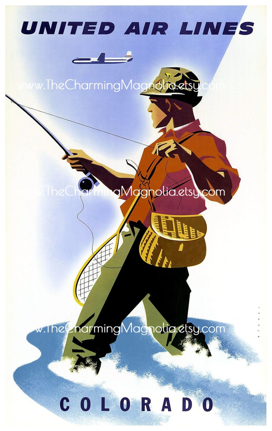Vintage colorado fly fishing travel poster by for Fly fishing posters
