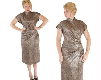 1980s Metallic Cinched Waist Oriental Style Reptile Lizard Scales Print Dress by Pantel M-L