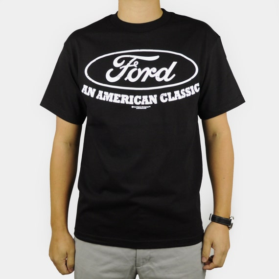 Ford american classic t shirt black retro car auto logo for All american classic shirt