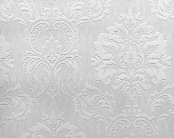 Paintable Wallpaper - Regal Medallion Damask - Damascene, Country French, Chic, Victorian, Early American - By The Yard - F497-32808 so